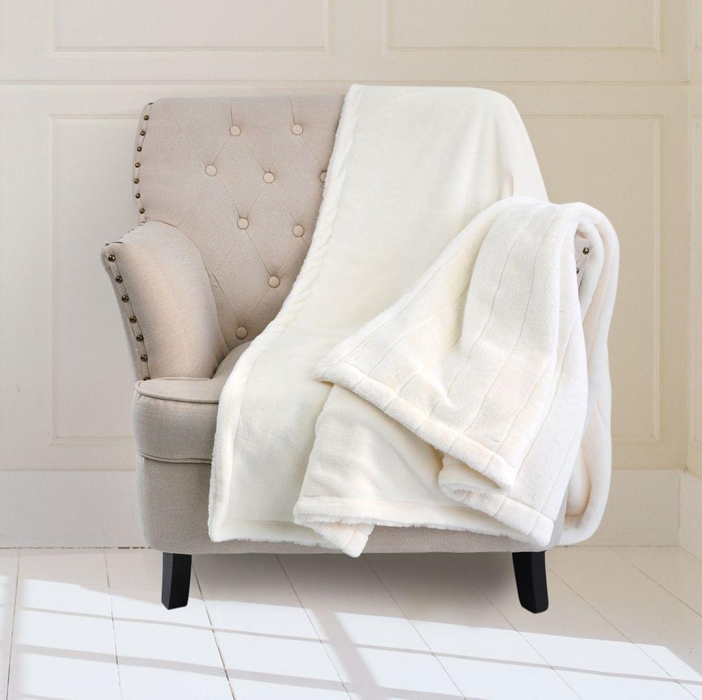 Royal Comfort Faux Fur Bed Winter Mink Blanket Throw Lounge Decor 127cm x 152cm - Stripe