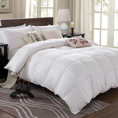 Royal Comfort Quilt 50% Duck Down 50% Duck Feather 233TC Cotton Pure Soft Duvet - Queen - White