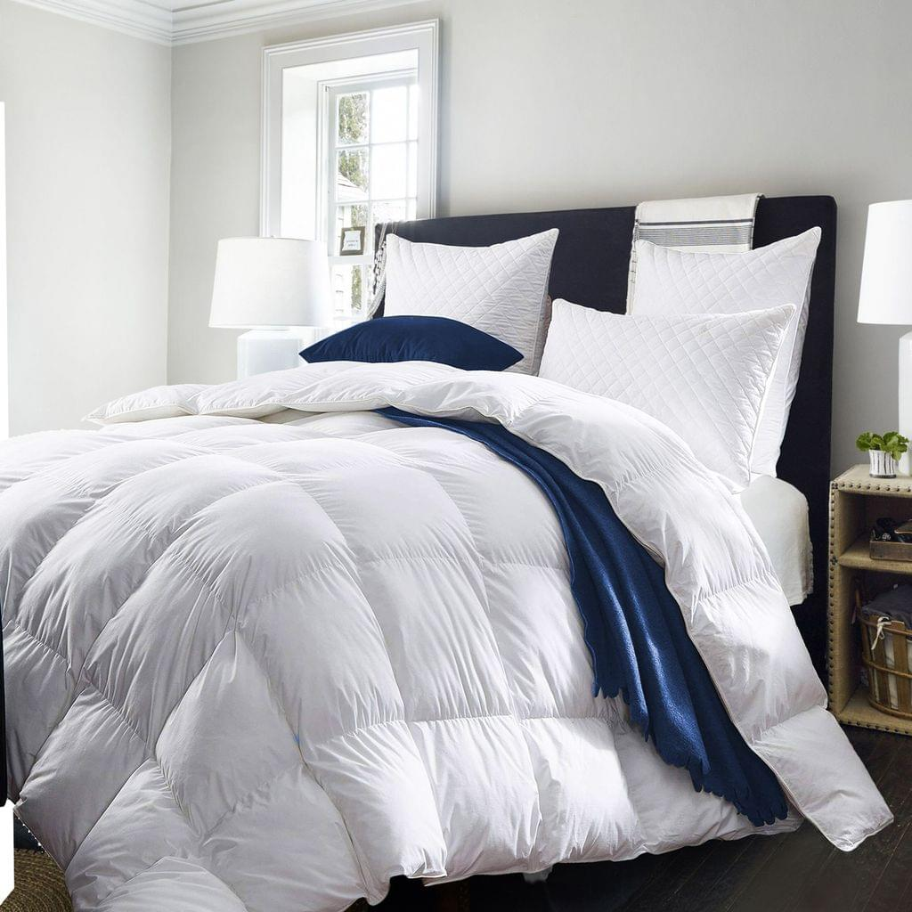Royal Comfort Quilt 50% Duck Down 50% Duck Feather 233TC Cotton Pure Soft Duvet - Queen - White