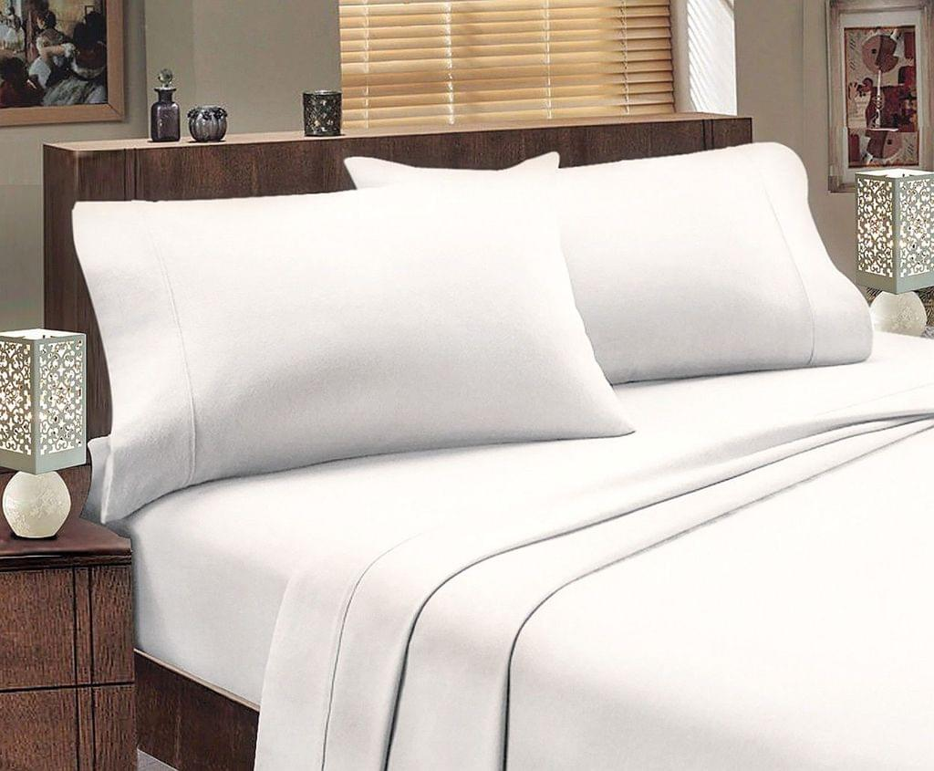 ALL SIZES Egyptian Cotton Sheet Set Flannelette 175GSM Luxury Comfortable - Double - White