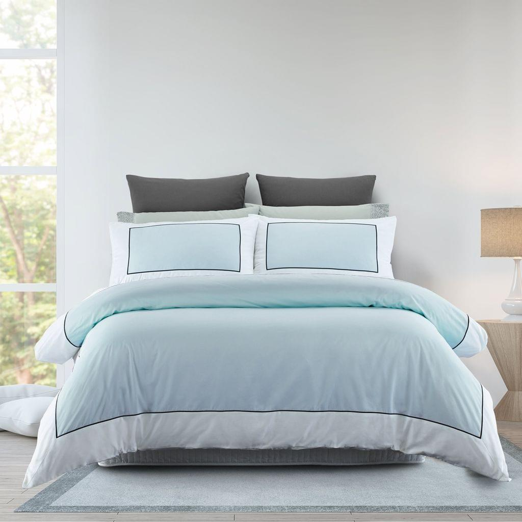 Renee Taylor 1000TC Quilt Cover Set Cotton Rich Soft Touch Ascot Hotel Grade - Queen - Blue Fog