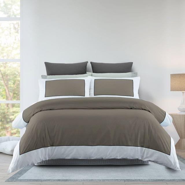 Renee Taylor 1000TC Quilt Cover Set Cotton Rich Soft Touch Ascot Hotel Grade - Queen - Linen