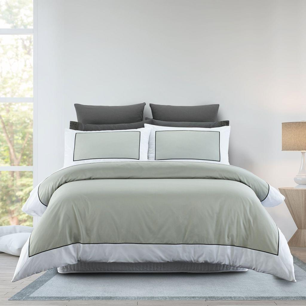 Renee Taylor 1000TC Quilt Cover Set Cotton Rich Soft Touch Ascot Hotel Grade - Queen - Silver