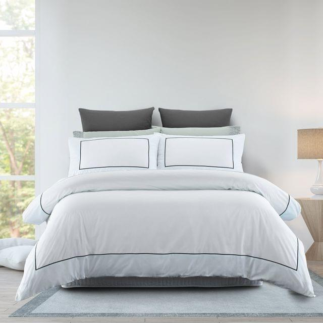 Renee Taylor 1000TC Quilt Cover Set Cotton Rich Soft Touch Ascot Hotel Grade - Queen - White