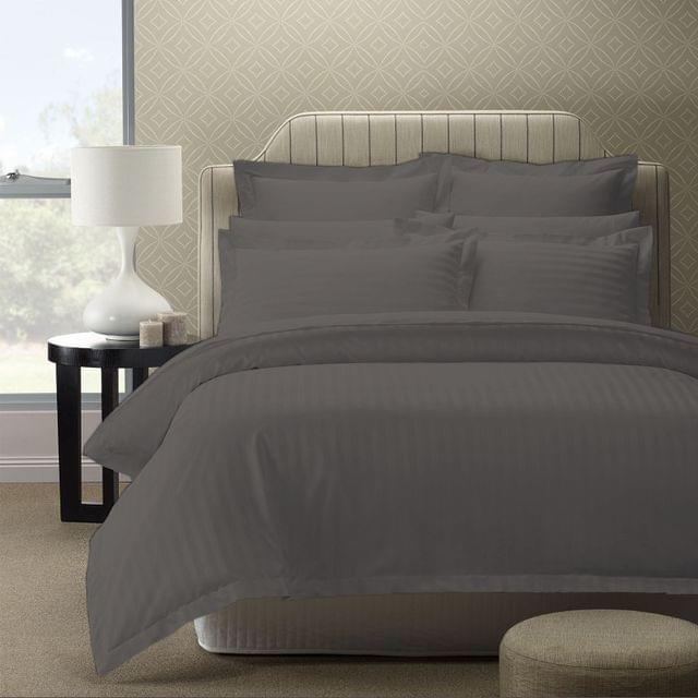 Royal Comfort 1200TC Luxury Sateen Damask Stripe Cotton Blend Quilt Cover Set - King - Charcoal Grey