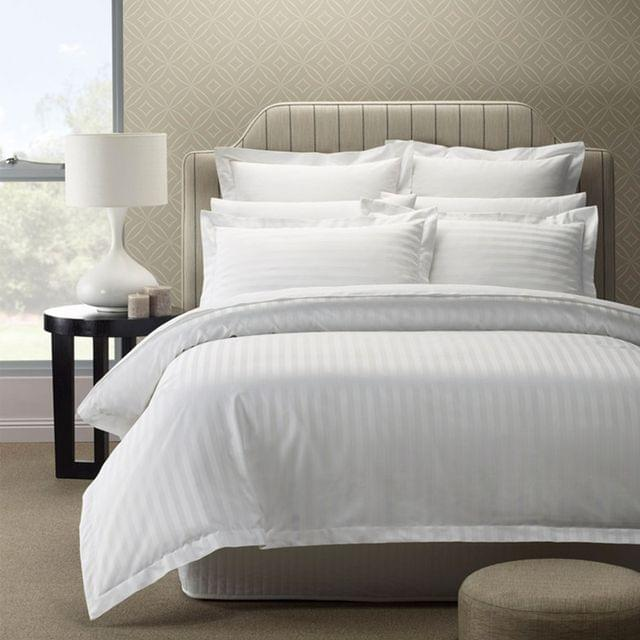 Royal Comfort 1200TC Luxury Sateen Damask Stripe Cotton Blend Quilt Cover Set - King - White