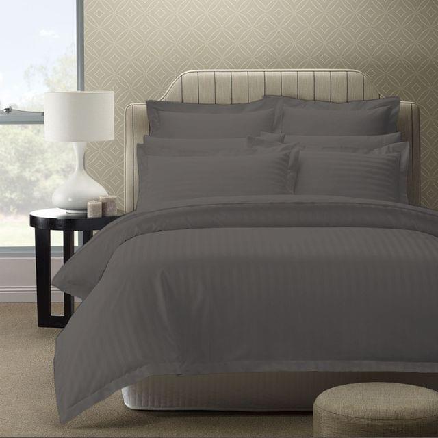 Royal Comfort 1200TC Luxury Sateen Damask Stripe Cotton Blend Quilt Cover Set - Queen - Blush