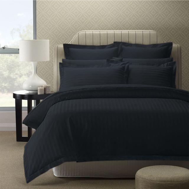 Royal Comfort 1200TC Luxury Sateen Damask Stripe Cotton Blend Quilt Cover Set - Queen - Charcoal
