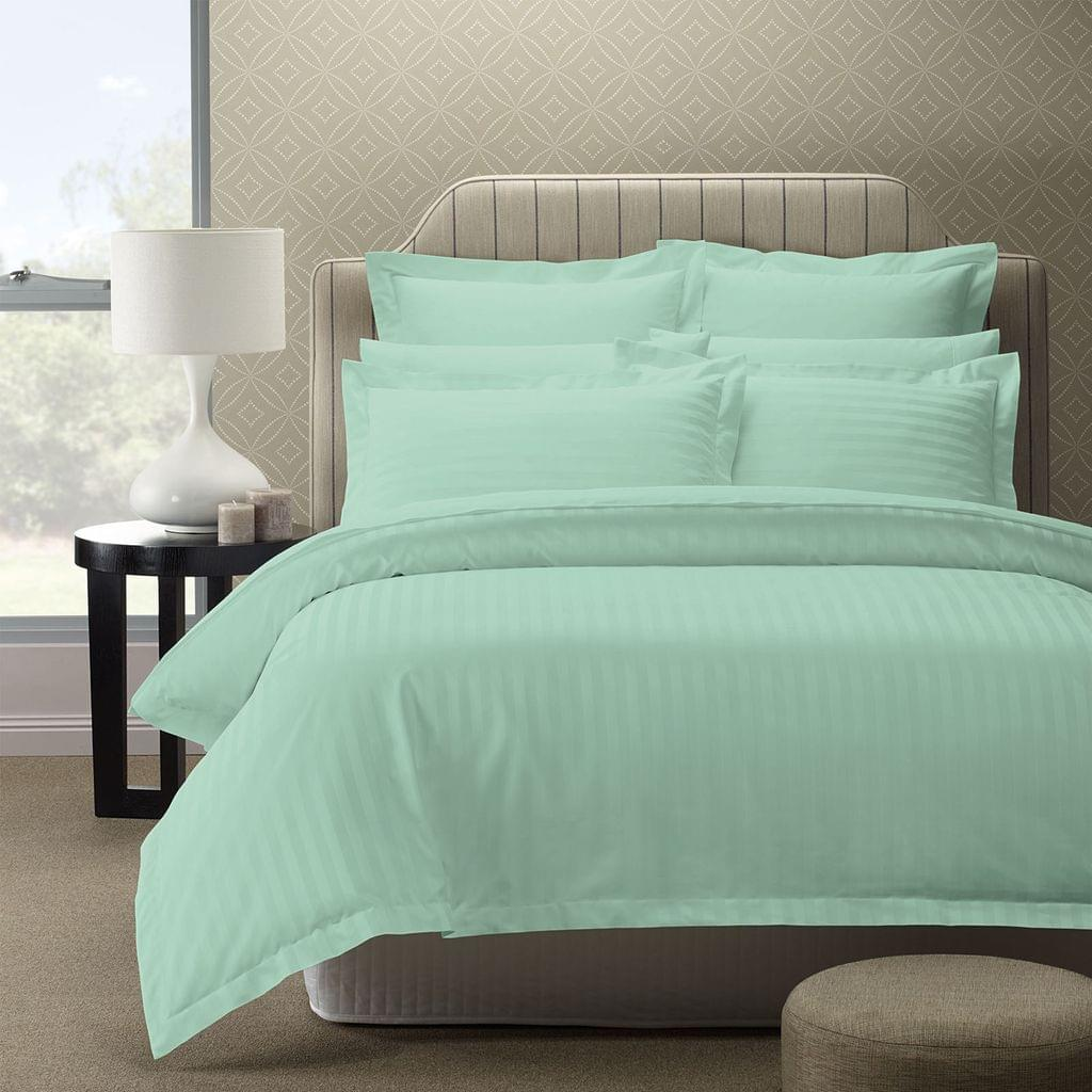 Royal Comfort 1200TC Luxury Sateen Damask Stripe Cotton Blend Quilt Cover Set - Queen - Mist