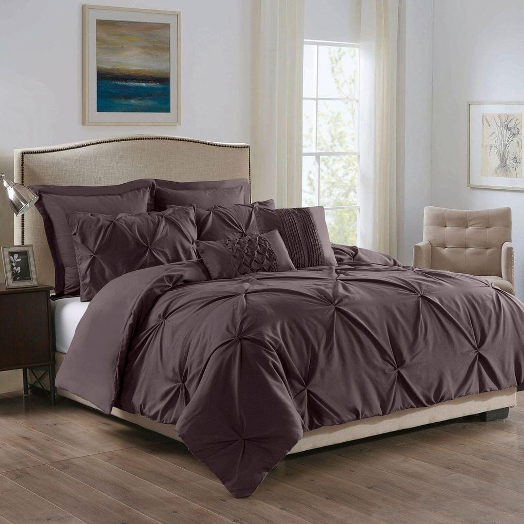 Royal Comfort 7 Pc Soft Microfiber Fitted Pleat Comforter Case Blanket Bed Set - Double - Truffle