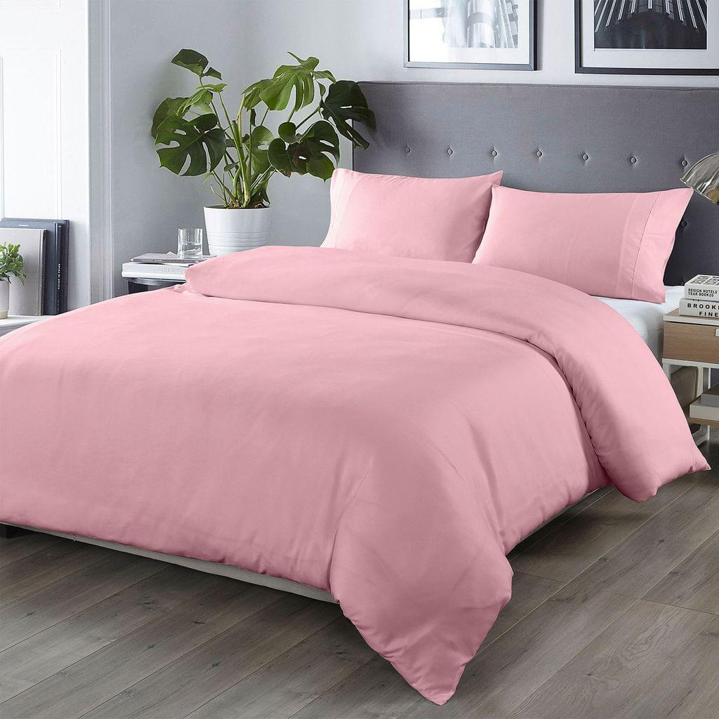 Royal Comfort Bamboo Blended Quilt Cover Set 1000TC Ultra Soft Luxury Bedding - King - Blush