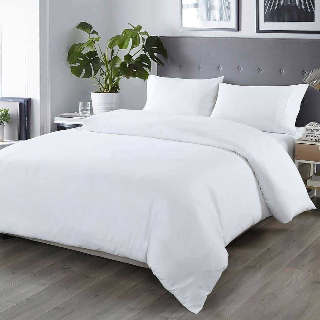 Royal Comfort Bamboo Blended Quilt Cover Set 1000TC Ultra Soft Luxury Bedding - King - White