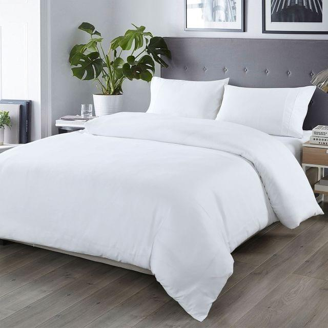 Royal Comfort Bamboo Blended Quilt Cover Set 1000TC Ultra Soft Luxury Bedding - Queen - White