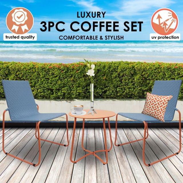 Milano 3pc Outdoor Furniture Steel/Rattan Coffee Table & Chairs Patio Garden Set - Blue & Orange