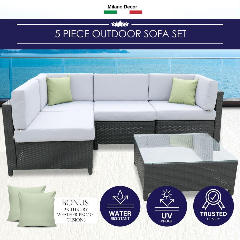 Milano Outdoor 5pc Outdoor Lounge Sofa Set Rattan Furniture Poolside Wicker