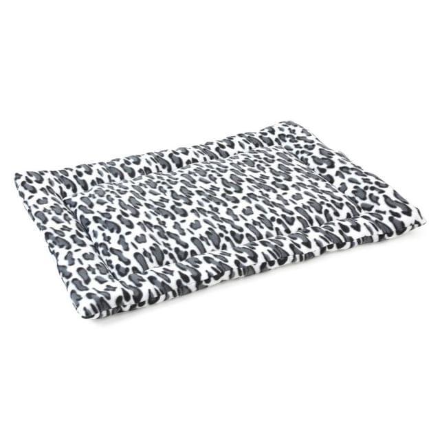 4 Paws Velveteen Plush Pet Mat Dogs Mattress Cushion 73x50x2 cm - Black Leopard