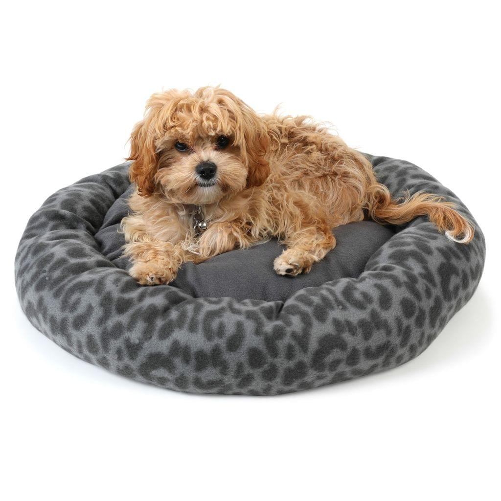 NEW Dog Bed Pet Bed Cat Round Soft Plush Lounge Washable Warm Grey Paw - S M