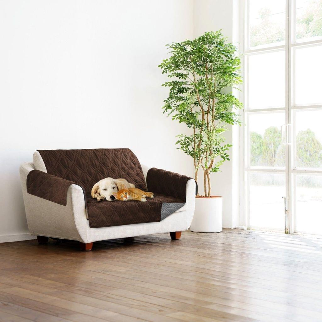 Sprint Industries Reversible Slipover Pet Couch Sofa Cover Protector Armchair - Love Seat - 1 side in Chocolate  1 side