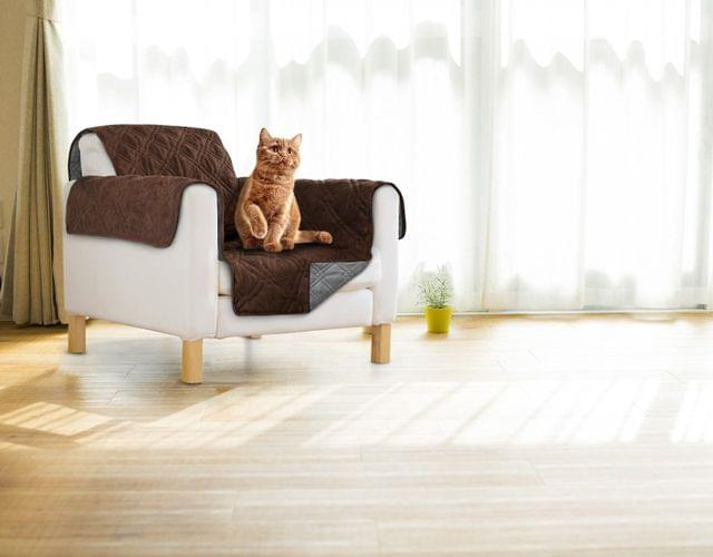 Sprint Industries Reversible Slipover Pet Couch Sofa Cover Protector Armchair - Single Chair - 1 side in Chocolate  1