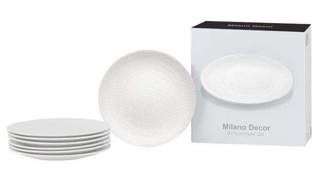 Milano Decor 6PC Stoneware Plate Dinnerware Set Microwave Dishwasher Freezer - White