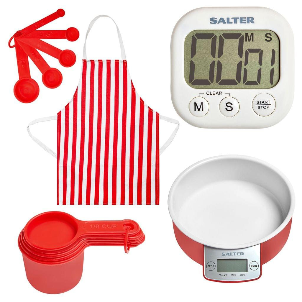 NEW Kitchen Scales Digital Timer  Food Scale  Measuring Set and Apron SALTER