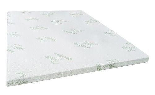 KING DOUBLE QUEEN Mattress Topper Bamboo Memory Foam Cover Bed Protector 4 CM - King - White