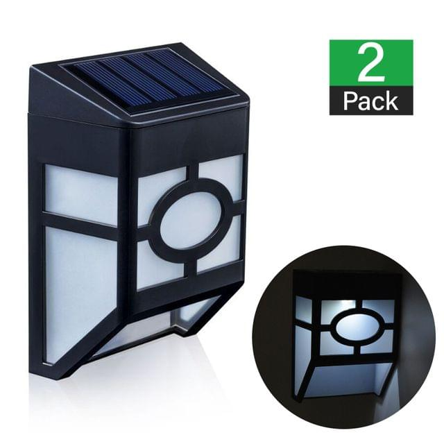 2 X Fence Lights Solar Powered LED Waterproof Outdoor Garden Patio Wall Pathway