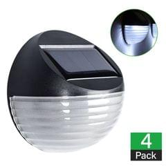 4 X Fence Lights Round Solar Powered LED Waterproof Outdoor Garden Wall Pathway