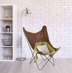 Milano Decor Butterfly Chair Premium PU Faux Leather Retro Seat Iron Frame Brown