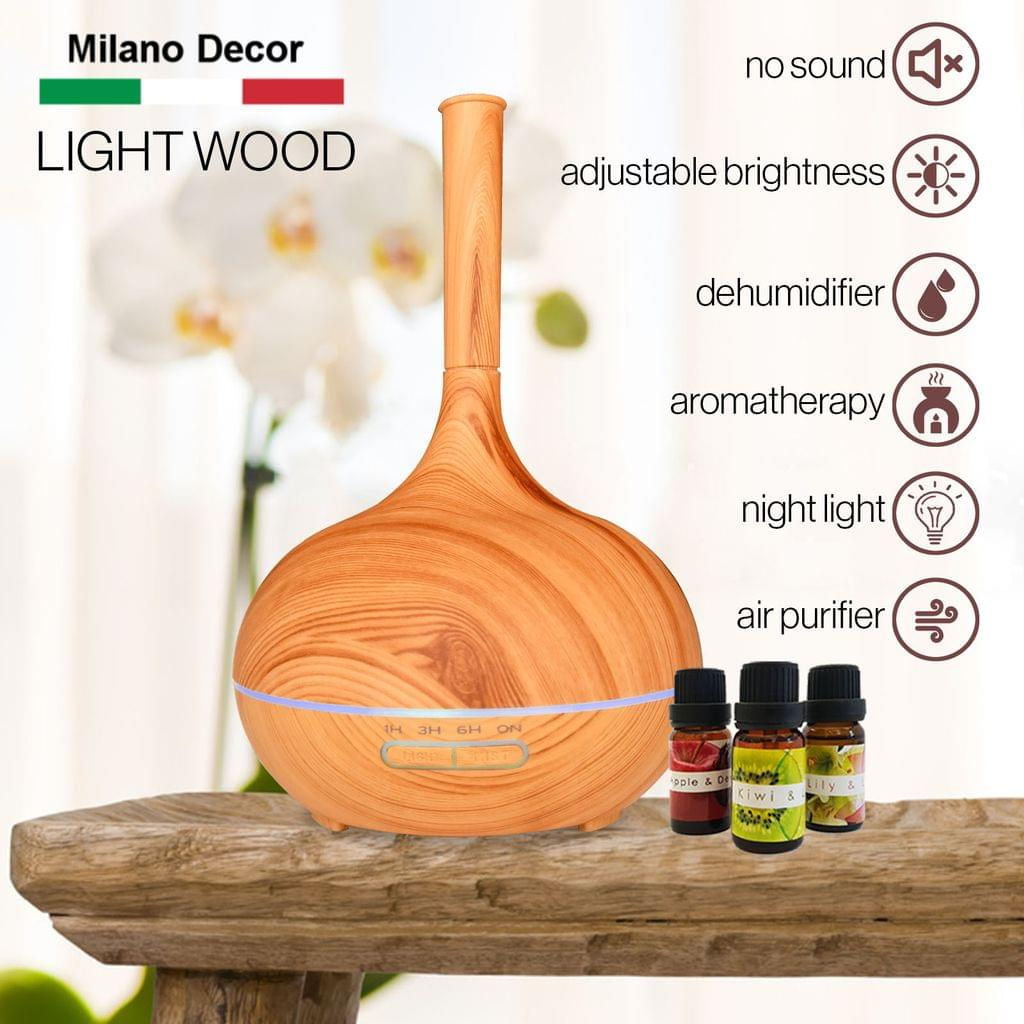 Milano Supreme Ultrasonic 400ml Aromatherapy Humidifier Diffuser LED with 3 Oils - Light Wood