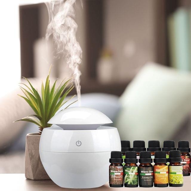 Milano Ultrasonic USB Diffuser with 10 Aroma Oils Humidifier LED Light 130ml - White