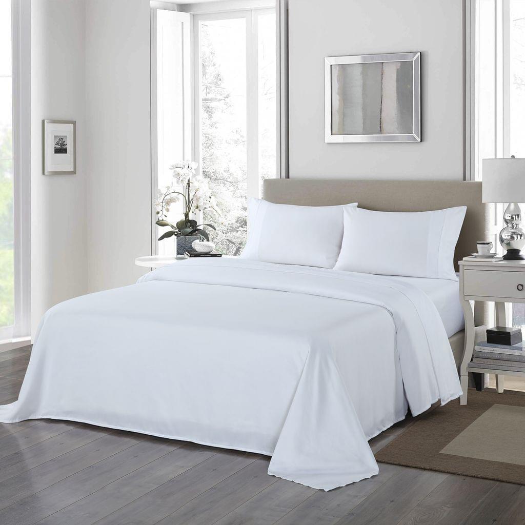 Royal Comfort 1200 Thread Count Sheet Set 4 Piece Ultra Soft Satin Weave Finish - King - White