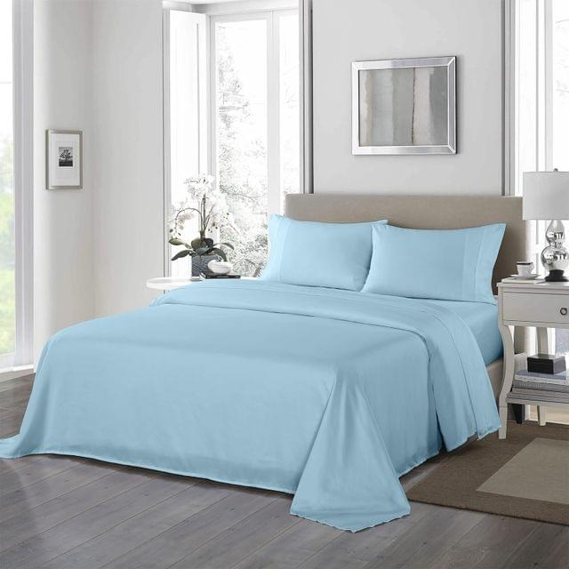 Royal Comfort 1200 Thread Count Sheet Set 4 Piece Ultra Soft Satin Weave Finish - King - Sky Blue