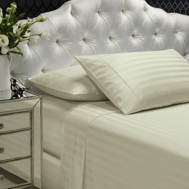 Royal Comfort 1200TC Sheet Set Damask Cotton Blend Ultra Soft Sateen Bedding - King - Pebble