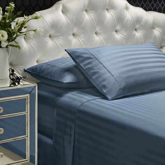 Royal Comfort 1200TC Sheet Set Damask Cotton Blend Ultra Soft Sateen Bedding - Queen - Blue Fog