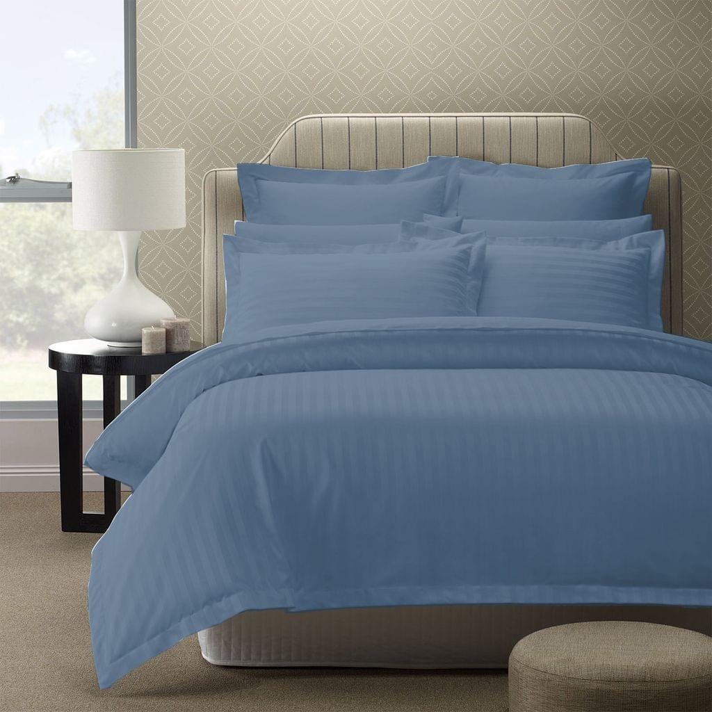 Royal Comfort 1200TC Quilt Cover Set Damask Cotton Blend Luxury Sateen Bedding - King - Blue Fog