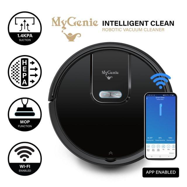 MyGenie WI-FI GMAX Robotic Vacuum Cleaner Mop App Control Dry & Wet Auto Robot - Black