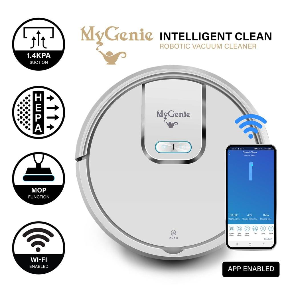 MyGenie WI-FI GMAX Robotic Vacuum Cleaner Mop App Control Dry & Wet Auto Robot - White