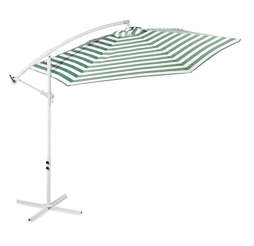 Striped Outdoor Umbrella for Garden Patio Sun Shade Market Strong Metal Base - Green and White Stripe