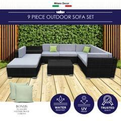 Milano 9 Piece Wicker Rattan Sofa Set Black Grey Outdoor Lounge Patio Furniture