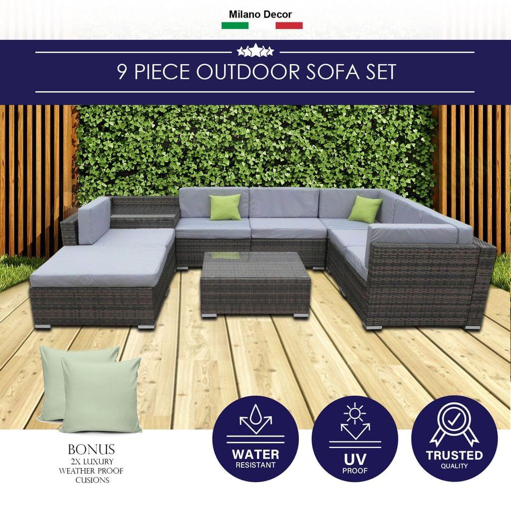 Milano 7 Piece Wicker Rattan Sofa Set Oatmeal Grey Outdoor Lounge Furniture