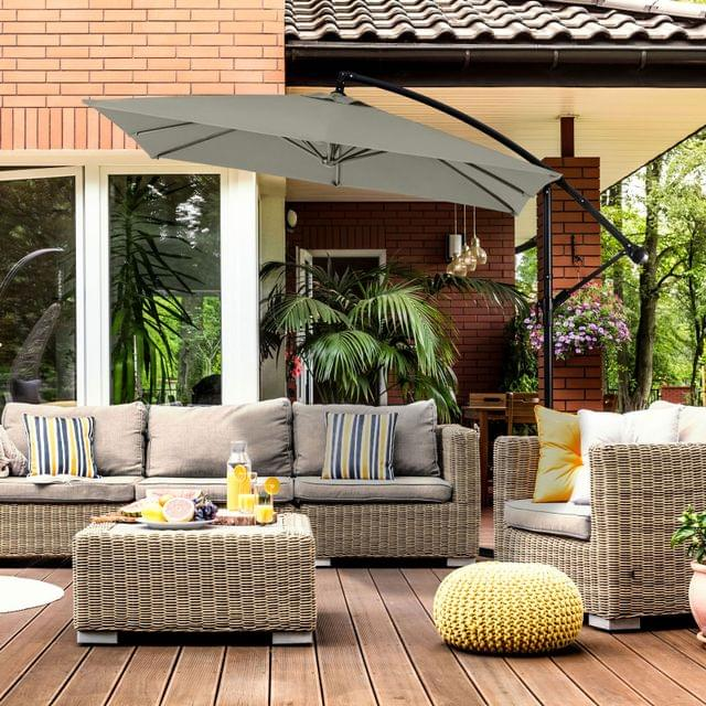 Milano 2.2M Outdoor Umbrella Cantilever Garden Deck Patio Shade Water-Resistant - Grey