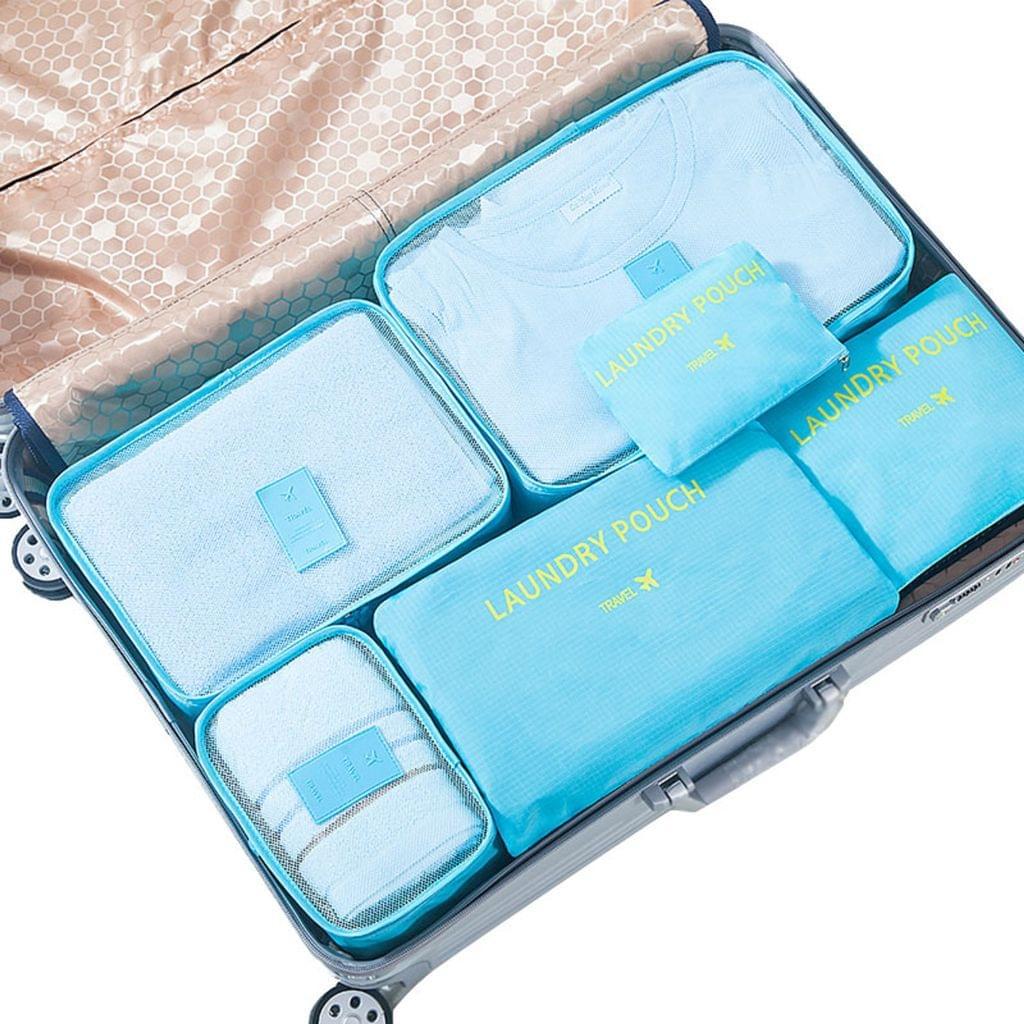 Jet Set 6 Piece Travel Luggage Organizer Storage Cube Pouch Suitcase Packing Bag - Aqua