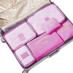 Jet Set 6 Piece Travel Luggage Organizer Storage Cube Pouch Suitcase Packing Bag - Burgundy