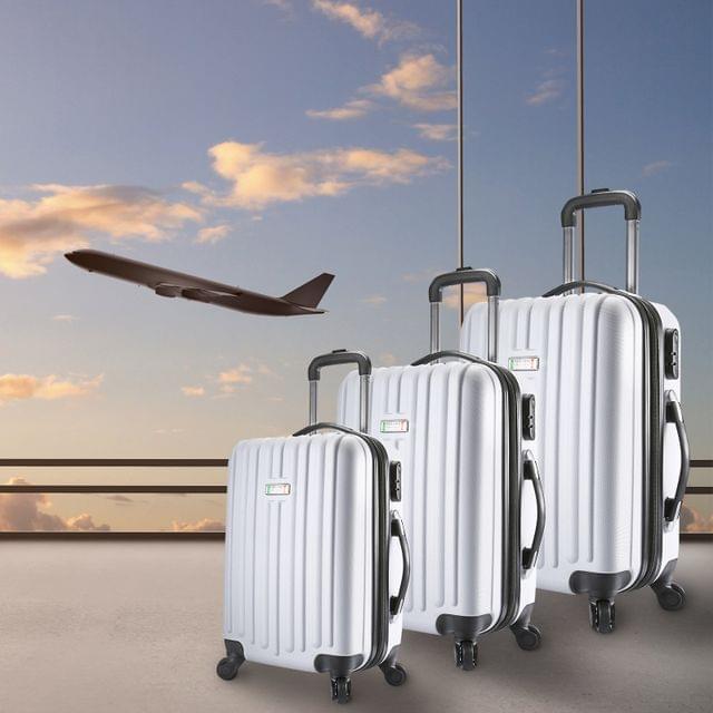 Milano Deluxe 3pc ABS Luggage Suitcase Luxury Hard Case Shockproof Travel Set - White
