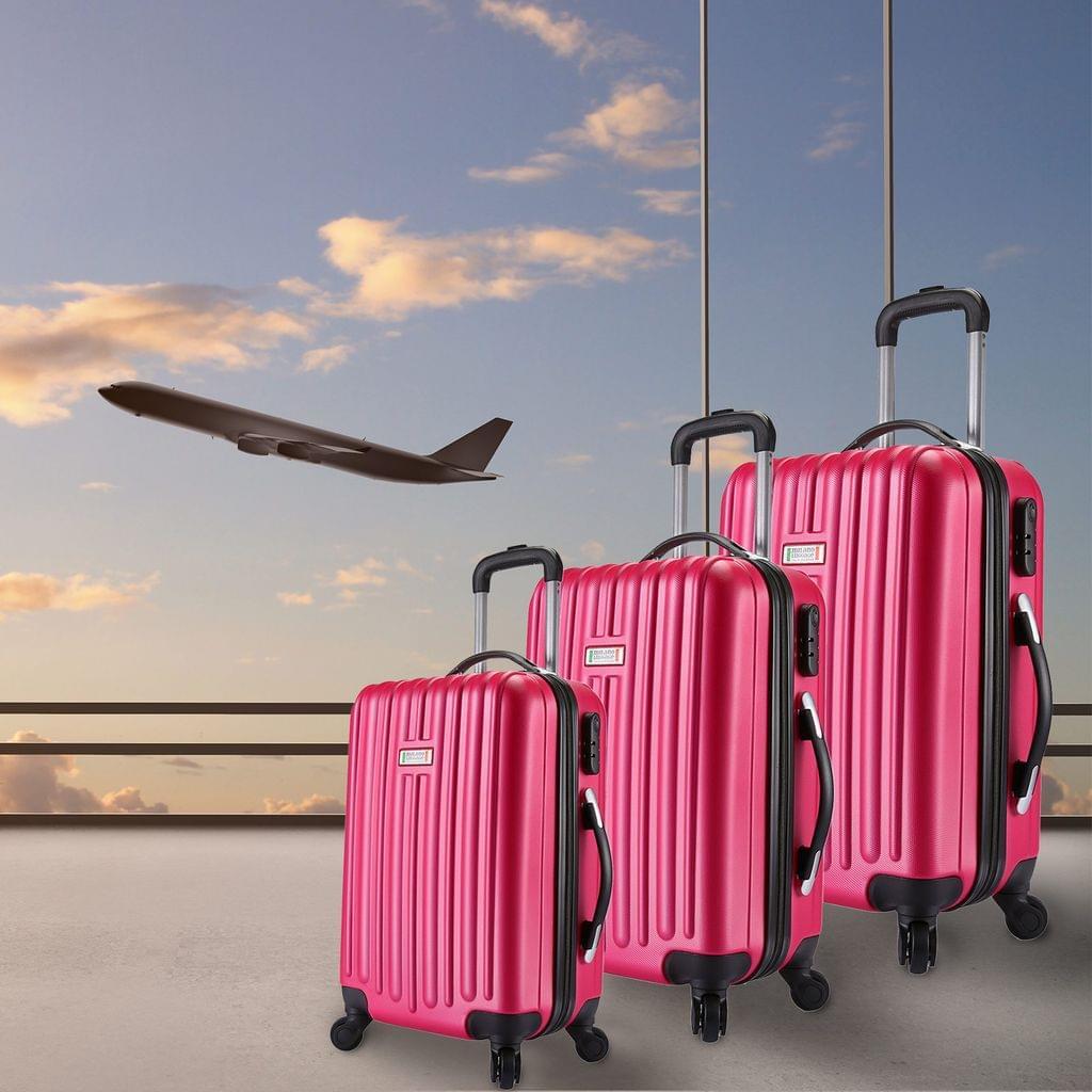 Milano Deluxe 3pc ABS Luggage Suitcase Luxury Hard Case Shockproof Travel Set - French Rose