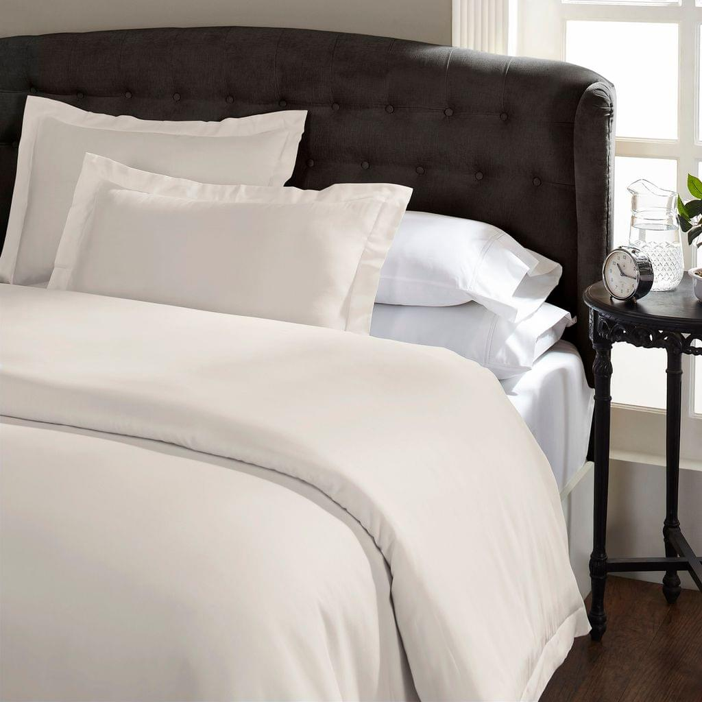 Ddecor Home 1000 Thread Count Quilt Cover Set Cotton Blend Classic Hotel Style - Queen - Pebble