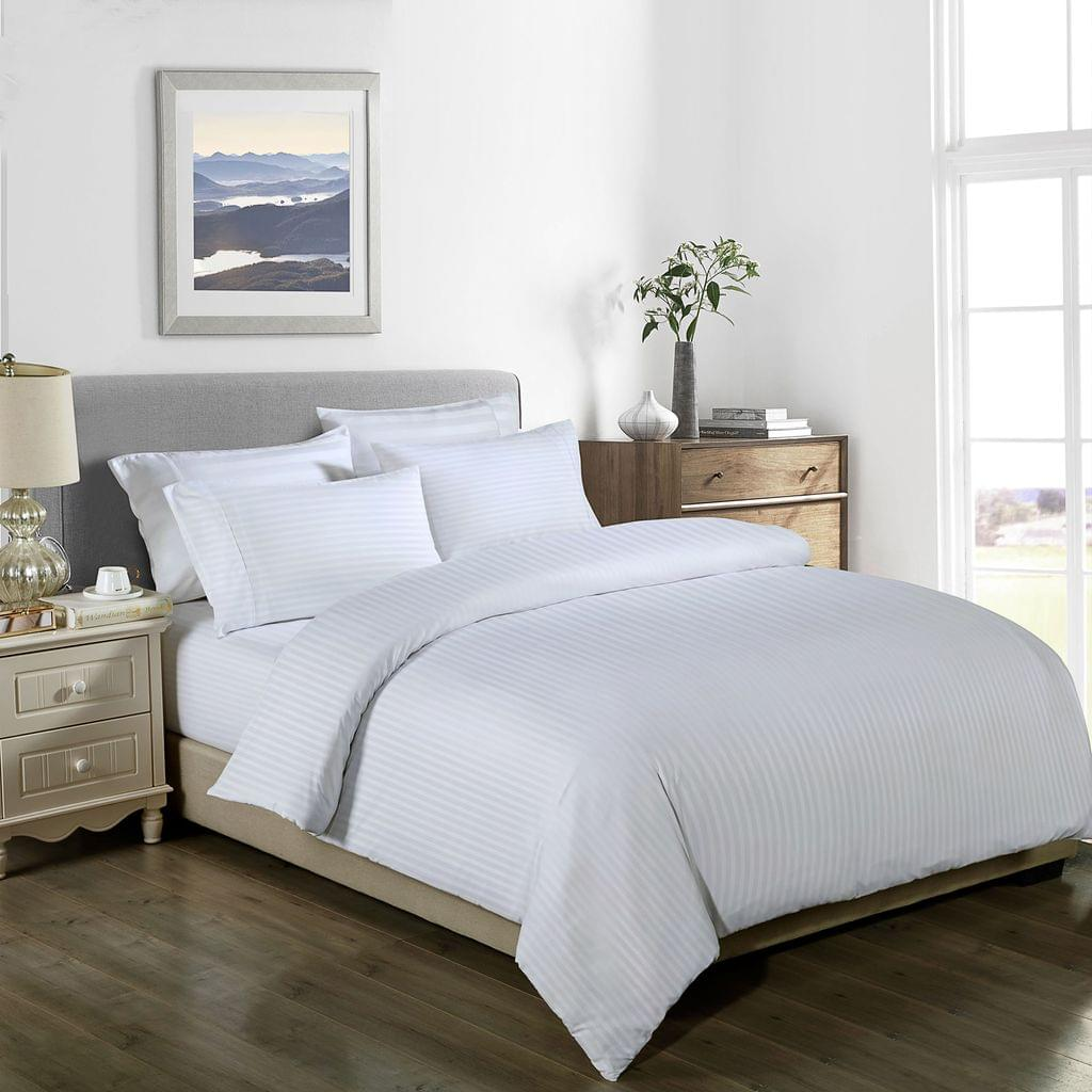 Royal Comfort Cooling Bamboo Blend Quilt Cover Set Striped 1000 Thread Count - Double - White