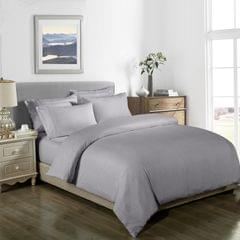Royal Comfort Cooling Bamboo Blend Quilt Cover Set Striped 1000 Thread Count - Queen - Silver Grey
