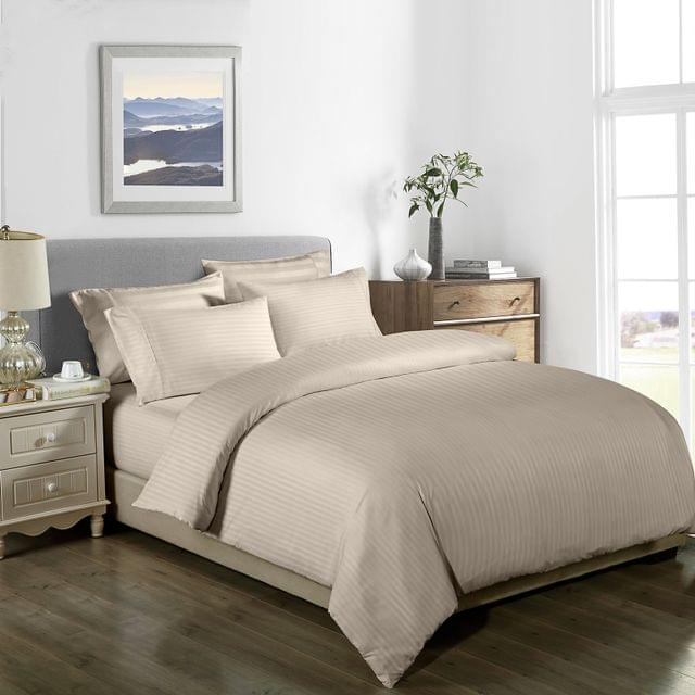 Royal Comfort Cooling Bamboo Blend Quilt Cover Set Striped 1000 Thread Count - King - Sand